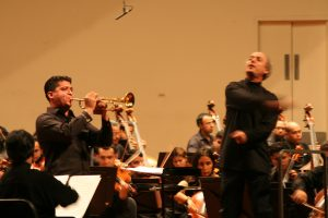 Performing the Arutunian Concerto with virtuoso trumpet player Francisco Flores (Pacho) and the Simon Bolivar Youth Orchestra of Venezuela (2008)