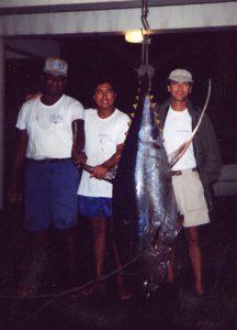 Close to a yellowfin tuna world record (Caribbean, 1993)