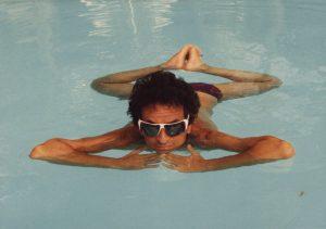 With author Jerzy Kozinsky showing off a buhdist floating technique! (La Romana, 1987)