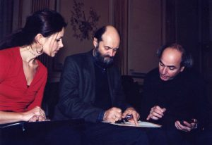 With wife Athina and Arvo Pärt preparing for our Berliner Symphoniker Latin America Tour (2001)