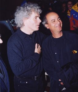 With Simon Rattle during the Venezuelan National Youth Orchestra european tour (Berlin, 2002)