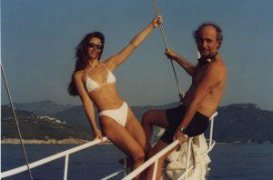 With wife Athina sailing (Aegean sea, 2001)